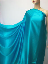 Bright Turquoise Blue PURE SILK SATIN CHARMEUSE FABRIC PER METER +Free button