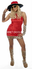 LADIES SEXY 70S MAMA RED LEOPARD SKIN COSTUME HALLOWEEN DRESS TO CLEAR  HB