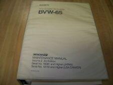 Sony BVW-65 Videocassette Player Maintenance Manual 3rd Ed Volume 2