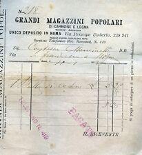 ROMA : RICEV.TA del 11.GEN.1901 * GRANDI MAGAZZINI POPOLARI DI CARBONE e LEGNA *