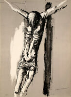 """Vittorio TAVERNARI """"Crocifisso"""" , 1967 litografia originale firmata"""