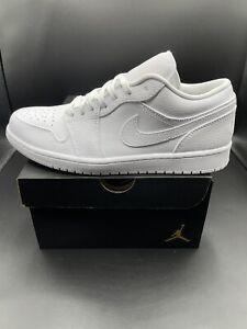 New Jordan 1 Low Triple White Men's Sneakers Shoes Size 12 Leather 553558-130