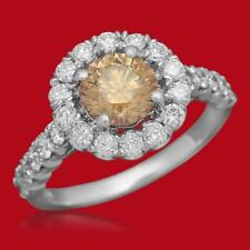 Certified FancyYellowishBrown 1.30cttw and 0.95cttw Diamond 14KT White Gold Ring