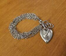 GUESS Silver Tone Multi Strand Chain Rhinestone Heart Charm Bracelet