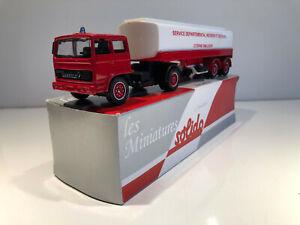 1/60 Solido Camion Semi-Remorque Citerne Miniature RENAULT G260 Pompiers Neuf