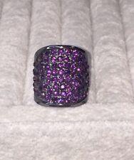 💜Purple Rhinestone Size 7.5 Fashion Charcoal Band - Pinky / Petite Knuckle Ring