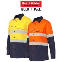 Mens Hard Yakka Koolgear Long Sleeve Work Shirt 4PK Hi-Vis Taped Summer Y07740