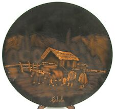 Vintage Chile Decorative Copper Etched 30cm Plate Beautiful Country Farm Scene