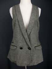 GAP Vest M Womens Gray Lapel Flap Pocket Belted Herringbone Wool Blend Oversized