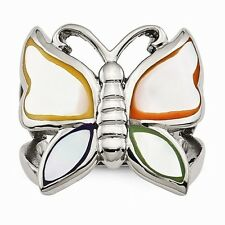STAINLESS STEEL POLISHED AND ENAMELED SHELL BUTTERFLY RING - SIZE 7