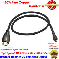 3ft MICRO HDMI to HDMI Cable Lead 1080p Kindle Fire HD LCD TV Camera Audio Video