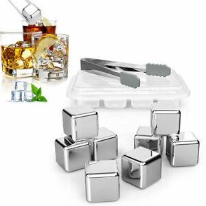 8pcs Edelstahl Eiswürfel Whisky Steine Ice Cube Kühlsteine mit Zange Silber Neu