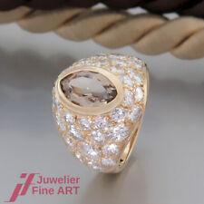 KERN Ring 1 Rauchquarz / Brillanten(Diamant) ges. ca. 2,20ct - 18K/750 Gelbgold