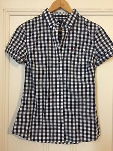 NEW!!! Was $130 Summer Navy/White Gingham Fred Perry Gingham Womens Shirt Size 8