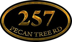 Personalized House Address Custom Plaque Aluminum Metal Oval Sign 7x12 Inches
