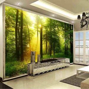 Dense Forest Sun Full Wall Mural Photo Wallpaper Printing 3D Decor Kid Home
