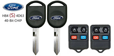 2 Ford S H84 40 BIT Transponder Chip Key + 4 Button Remote A+++ USA Seller