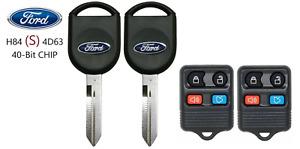 2 Ford S H84 40 BIT Transponder Chip Key + 4 Button Remote A+++ USA Seller