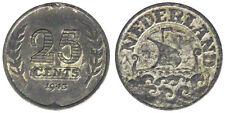 25 CENTS 1943 WILHELMINA I OLANDA NETHERLANDS #6254A