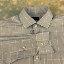 Proper Cloth Sz 16.5-35 Handsome Blue Plaid Button Down Men's Shirt