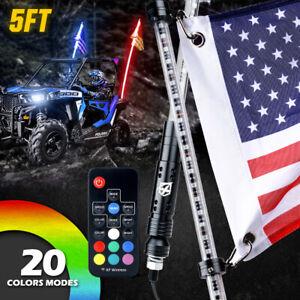 Xprite 5ft RGB LED Lighted Whip Remote w/ Flag Antenna for ATV UTV Polaris RZR