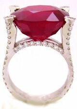 18K WHITE GOLD 14.40CTW CUSHION CUT RUBY DIAMOND RING MICRO PAVE SET