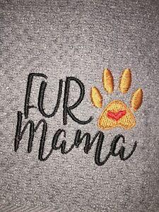 Embroidered Kitchen Bar Hand Towel  FUR MAMA  w Paw Print LOVE BS1125