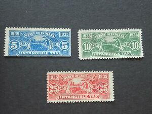 (3) Used 1935 State of Indiana revenue Tax stamps-5c, 10c and 25 cents