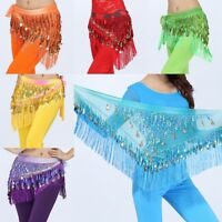 3Rows Belly Dance Gold Coin Dancing Wrap Dancer Costume Hip Scarf Skirt Belt B94