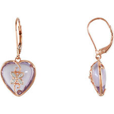 Genuine Rose de France Amethyst Hearts Diamonds LeverBack Earrings 14K Rose Gold