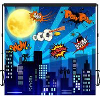 Super Hero City Backdrop Banner Scene Setters Photography Background 7x7 feet