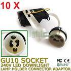 10 X GU10 240V LED Downlight Lamp Holder Socket Connector Adaptor Fixture Base