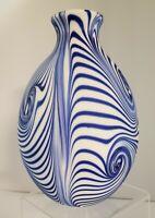 Fenton Blue Satin Labyrinth Vase signed Dave Fetty