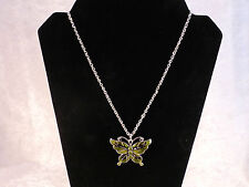 Statement Piece Grass Green Crystal & Enamel Butterfly Necklace + Free Gift Bag