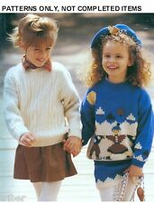 Knitting PATTERNS Childrens Sweaters Cardigans Aran Picture Penguins  Snowboard