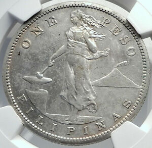 1909 PHILIPPINES Antique Silver LARGE PESO Coin under UNITED STATES NGC i81939