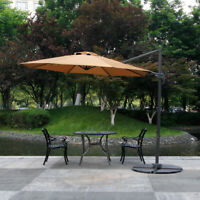 10FT Cantilever Outdoor Offset Umbrella Beige Patio Umbrella 360 Degree Rotation