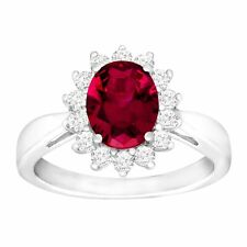 3 1/6 ct Oval-Cut Created Ruby & White Sapphire Ring in Sterling Silver