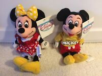 """Disney Store Mickey And Minnie Mouse 9"""" Bean Bag Plush Set Of 2"""