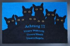 Fußmatte Bodenmatte Katzen Wohnung Cats Home Fußabtreter  40 x 60 cm schwarz