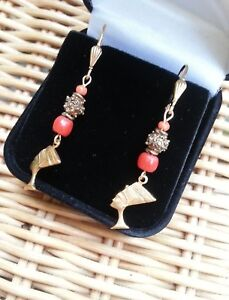 Vintage carved coral EARRINGS African brass Nefertiti   Egyptian-themed GIFT