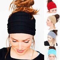 Women NonSlip Wide Yoga Headband Stretch Hairband Elastic Hair Band Turban