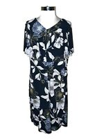 CONNECTED Plus Size 20W Shift Dress Blue White Yellow Floral Ruffle Short Sleeve