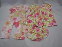 BABY NAY LULU DRESS ROMPER DIAPER COVER SET LOT GIRL FLORAL 3-6 MOS