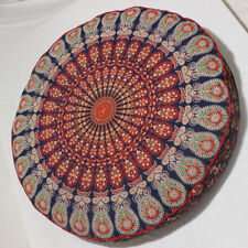 "35"" Indian Orange Mandala Floor Pillow Throw Case Round Boho Cushion Cover Case"