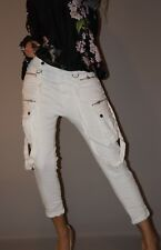 High Waist Jeans Cargo Blogger Hose Abnehmbare Träger XS 34 Weiß Must Have