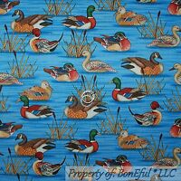BonEful Fabric FQ Cotton Quilt Blue Brown B&W Country Cabin Wood Duck Hunt Water