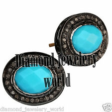 Studded Silver Studs Earring Jewelry Antique 1.25cts Rose Cut Diamond Turquoise