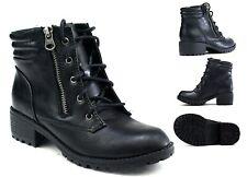 Girls New Winter Warm Ankle Lace Up Grip  Zipper Platform Heel Lightweight Boot