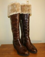 Born Womens Tall Boots Sz 9.5 / 41 Brown Leather Faux Fur Insulated Side Zip